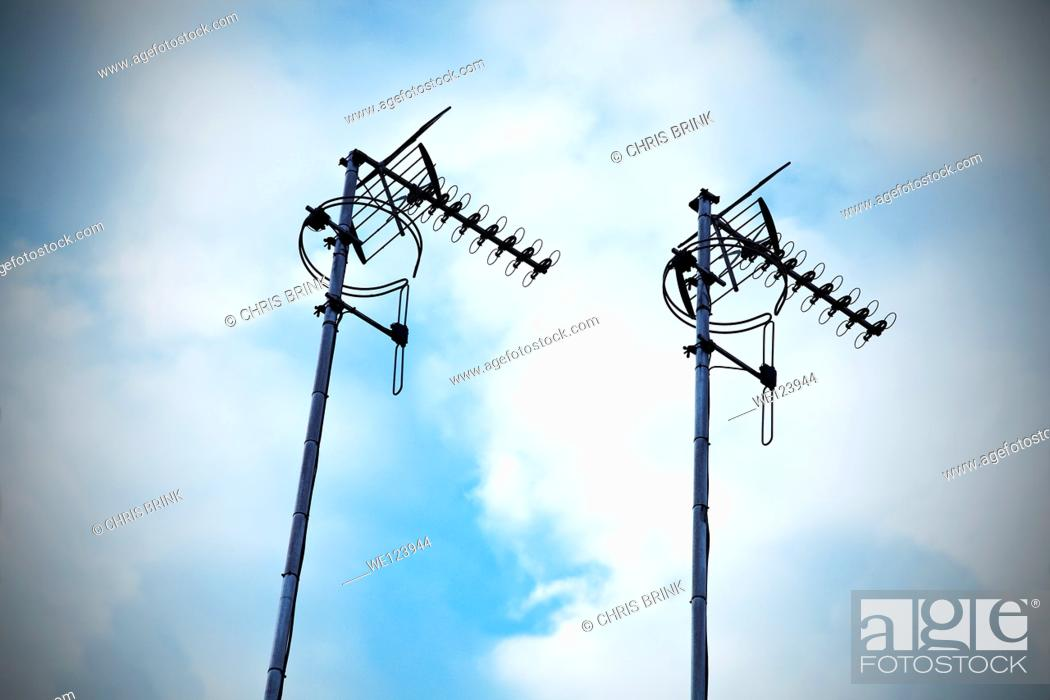 Stock Photo: Television and digital radio aerials in the UK.