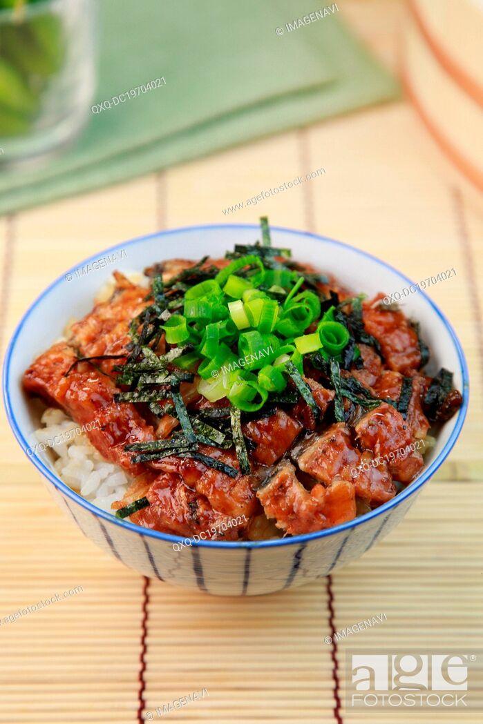 Stock Photo: Hitsumabushi (Grilled eel on the rice).