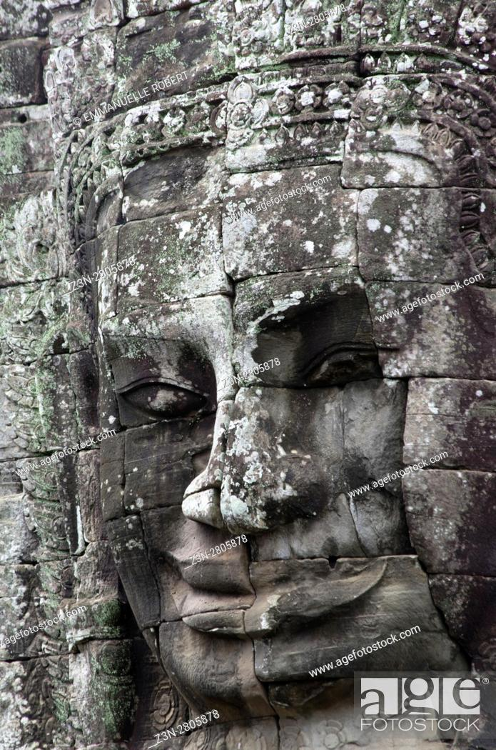 Stock Photo: Le Bayon temple, ANgkor, Cambodia, South East Asia.