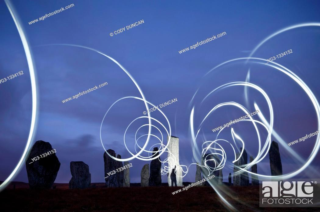 Stock Photo: Callanish standing stones at night illuminated by lights, Isle of Lewis, Outer Hebrides, Scotland.