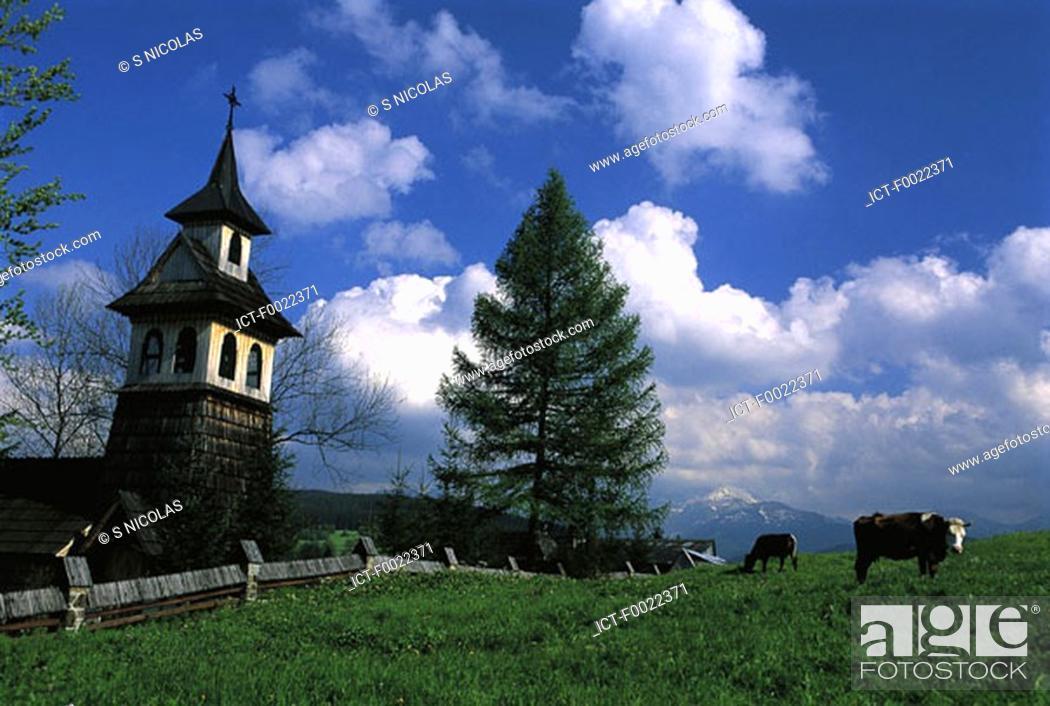 Stock Photo: Poland, near Zakopane, wooden church.