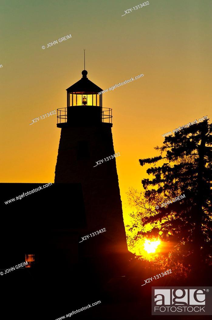 Stock Photo: Dyce Head Lighthouse, Castine, Maine, ME, USA.