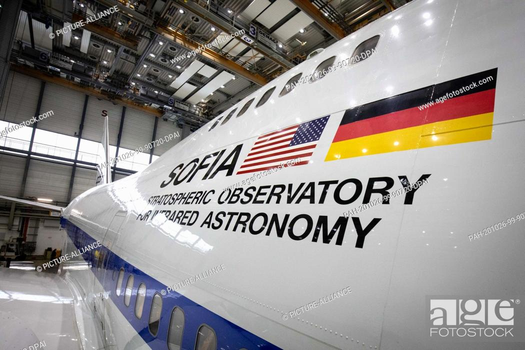 Stock Photo: 26 October 2020, Hamburg: A converted Boeing 747 with the Stratospheric Observatory for Infrared Astronomy (Sofia) is standing for maintenance in a hangar at.