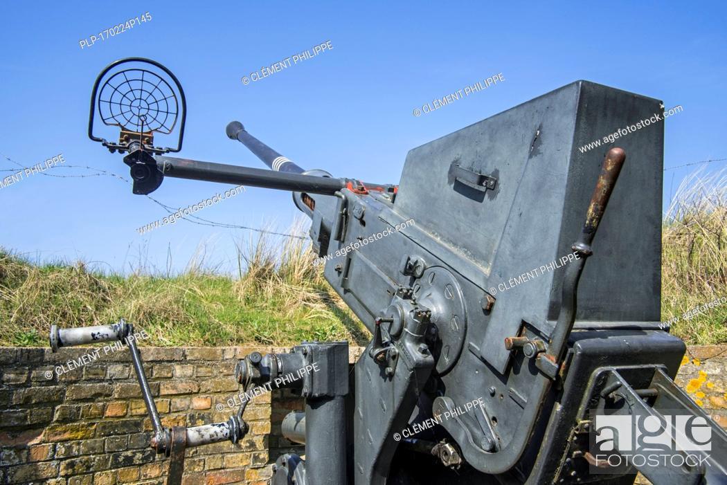 Stock Photo: Flak 28 / Bofors 40 mm gun, anti-aircraft auto-cannon at Raversyde Atlantikwall / Atlantic Wall open-air museum at Raversijde, West Flanders, Belgium.