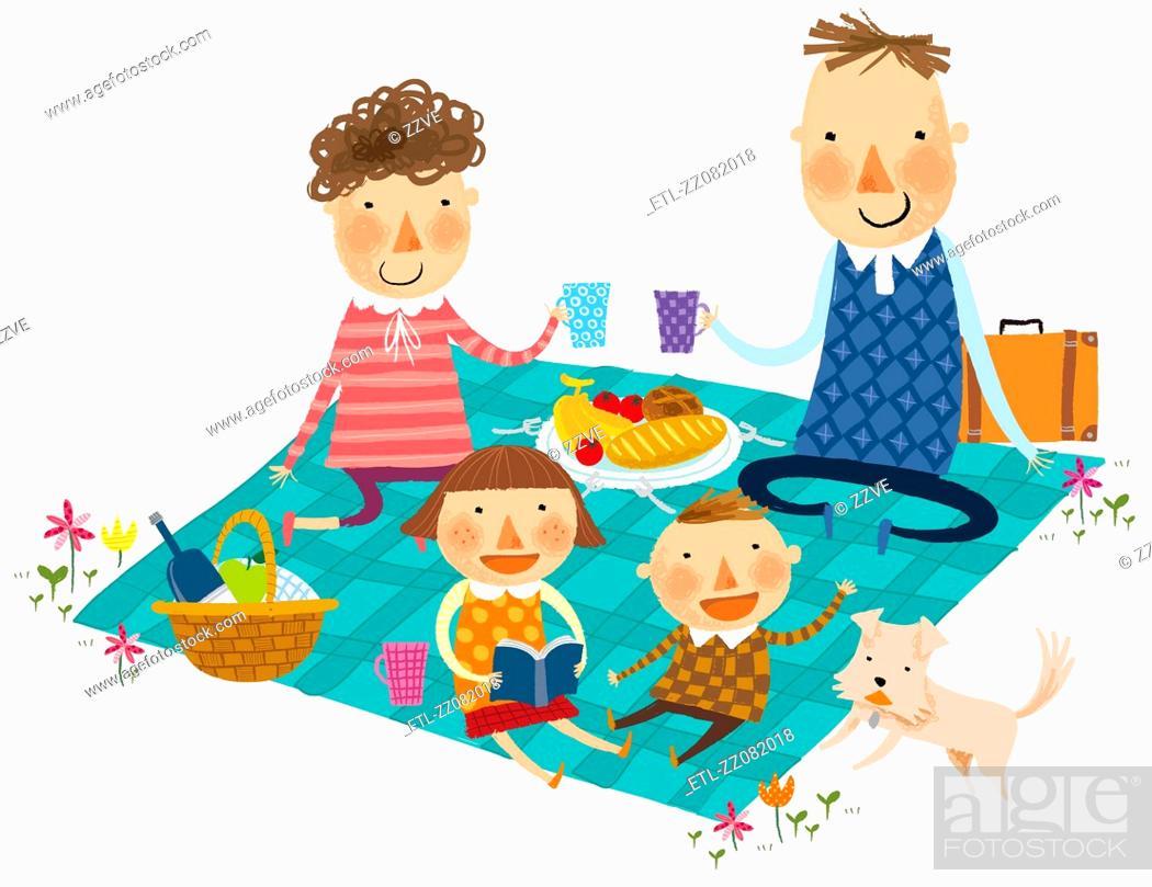 Stock Photo: Family at picnic.