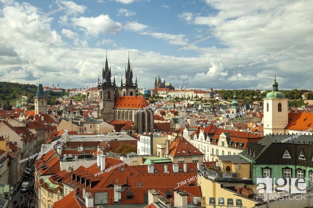 Stock Photo: Prague old town skyline, Czechia.