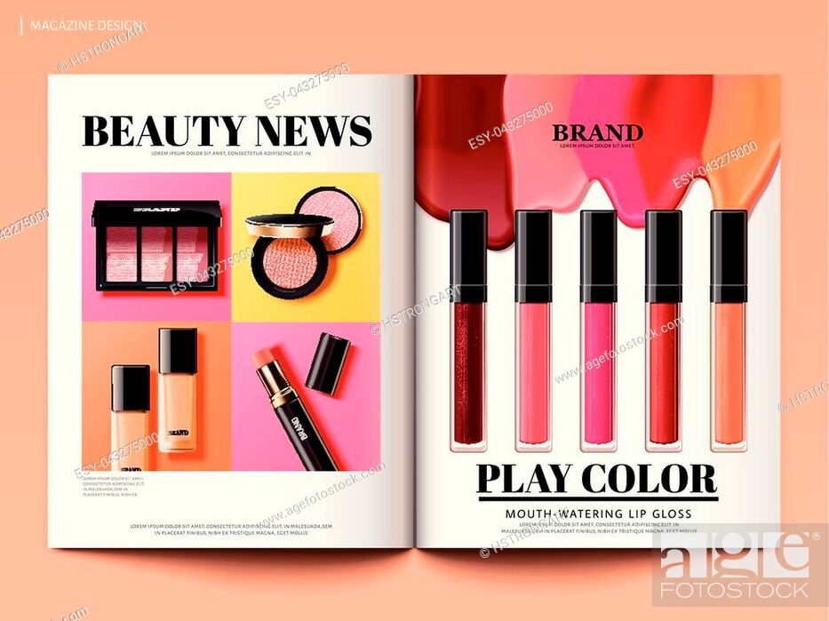 Stock Vector: Beauty magazine design, colorful and trendy make up product news in 3d illustration, magazine or catalog brochure template for design uses.