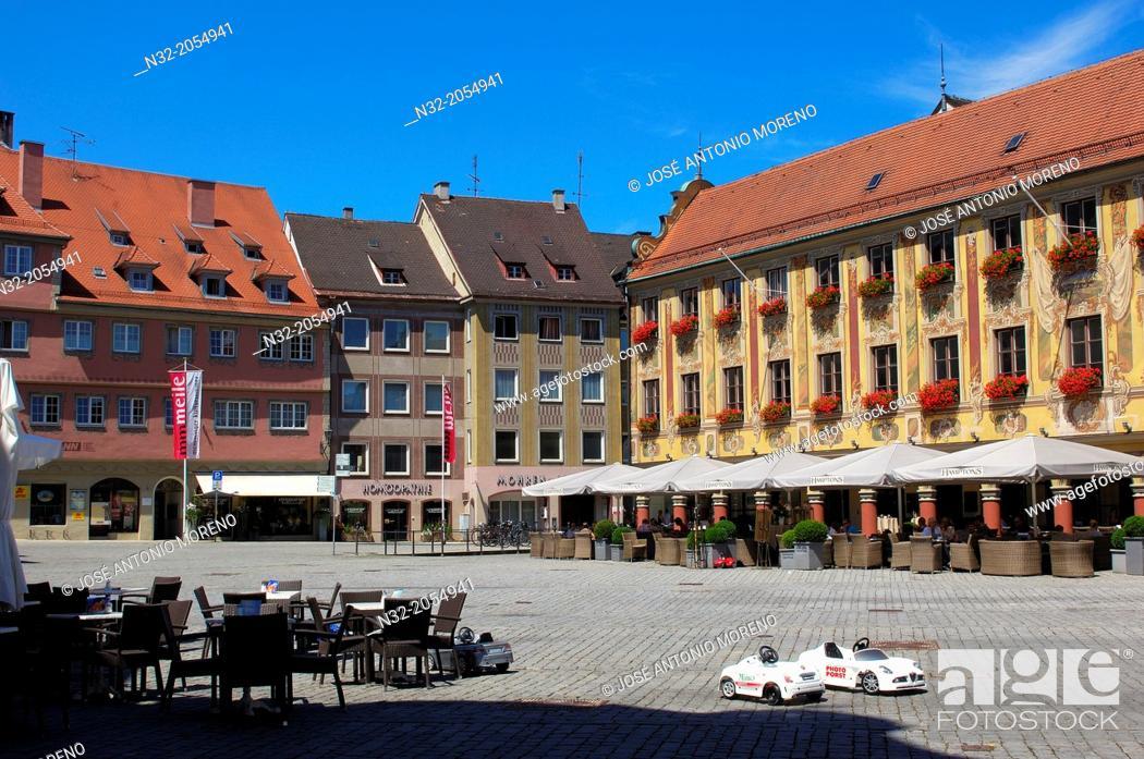 Stock Photo: Memmigen, Allgau, Steuerhaus, Hamptons Cafe, market place, Market Square, Allgaeu region, Swabia, Germany, Bavaria, .