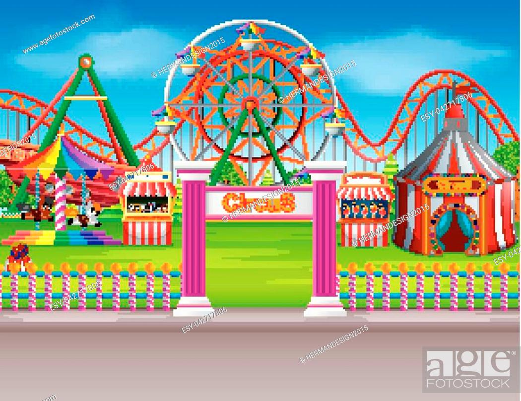 Stock Vector: illustration of Amusement park scene at daytime with many rides.