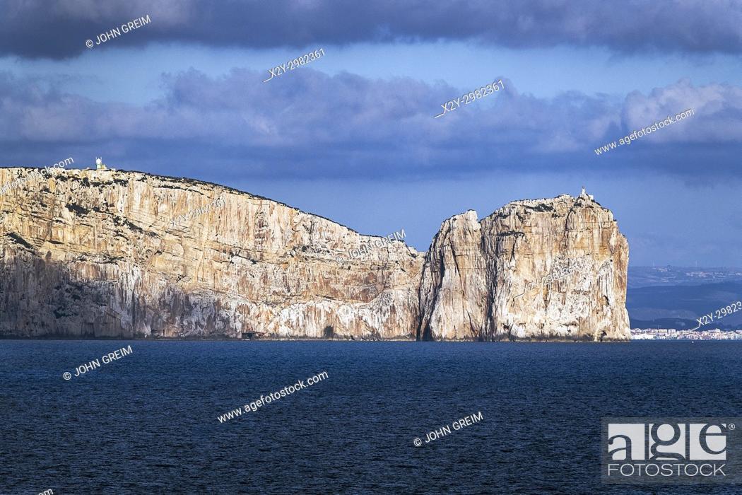 Stock Photo: White sea cliffs, Maristella, Capo Caccia, Sardinia, Italy.