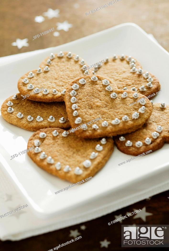 Heart Shaped Cinnamon Christmas Biscuits Stock Photo Picture And