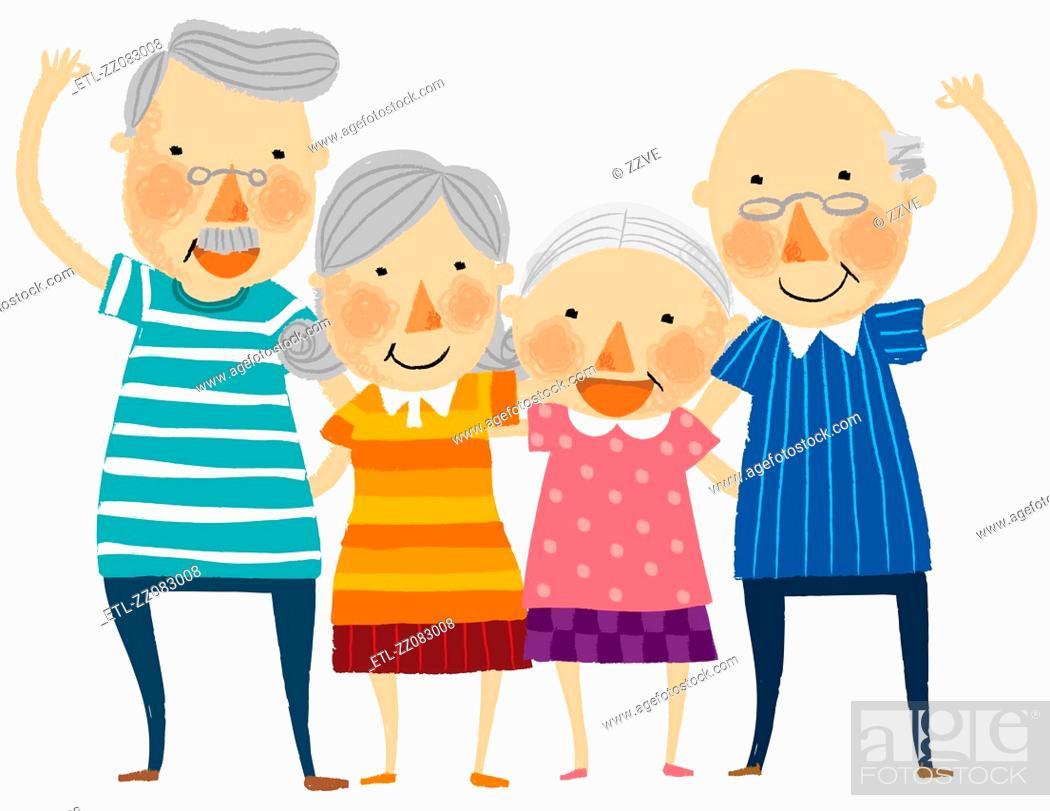 Stock Photo: Group of elderly couple.