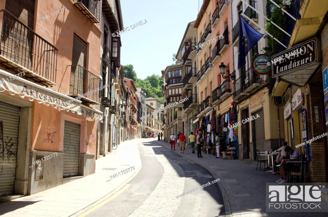 Stock Photo: Europe, Spain Granada Cuesta de Gomerez.