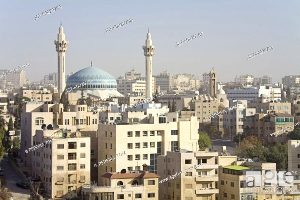 Stock Photo: Jordan, Amman, overview of the city and Blue Mosque.