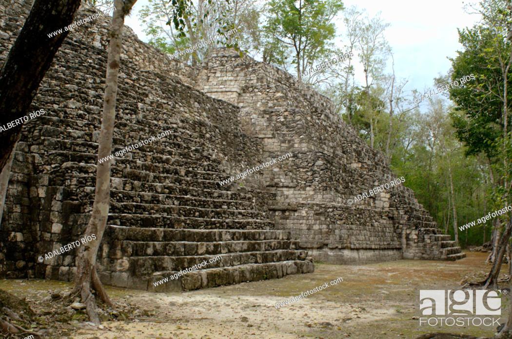 Stock Photo: Zona arqueologica Maya de Balamku. Balamku significa en maya templo del jaguar. La zona arqueologica de Balamku tiene una superficie de 1km2 y fue habitada.