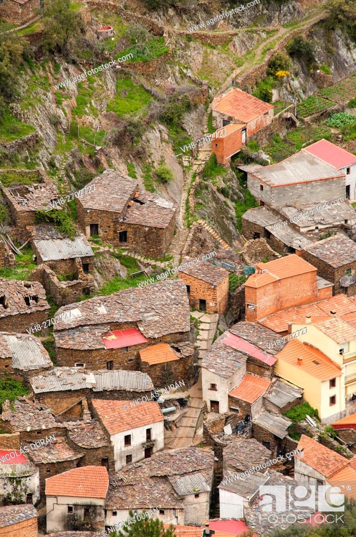 Stock Photo: Gasco Village. Caminomorisco. Comarca de las Hurdes. Cáceres province. Extremadura. Spain.
