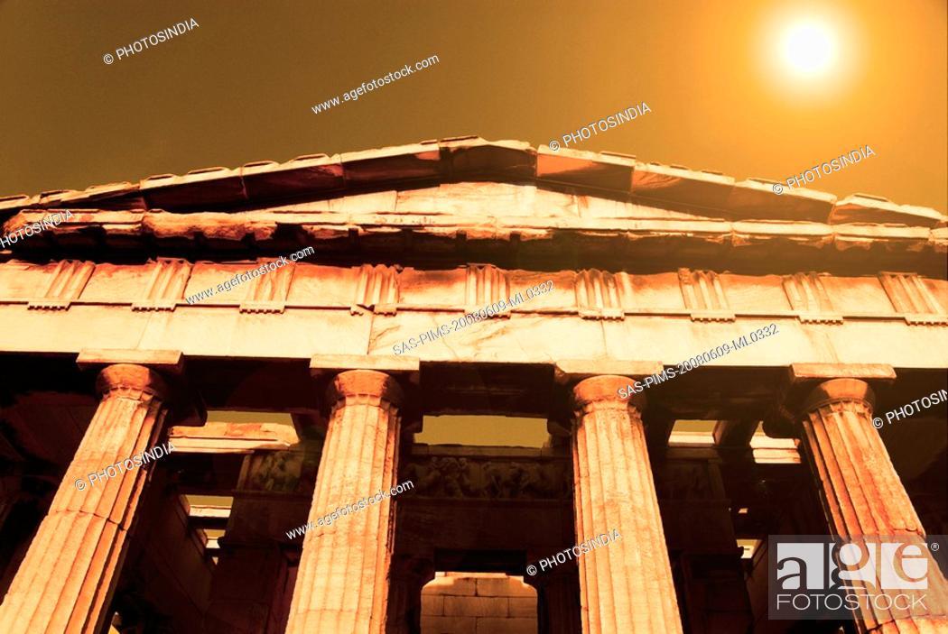 Stock Photo: Colonnade of an ancient temple, Parthenon, Acropolis, Athens, Greece.