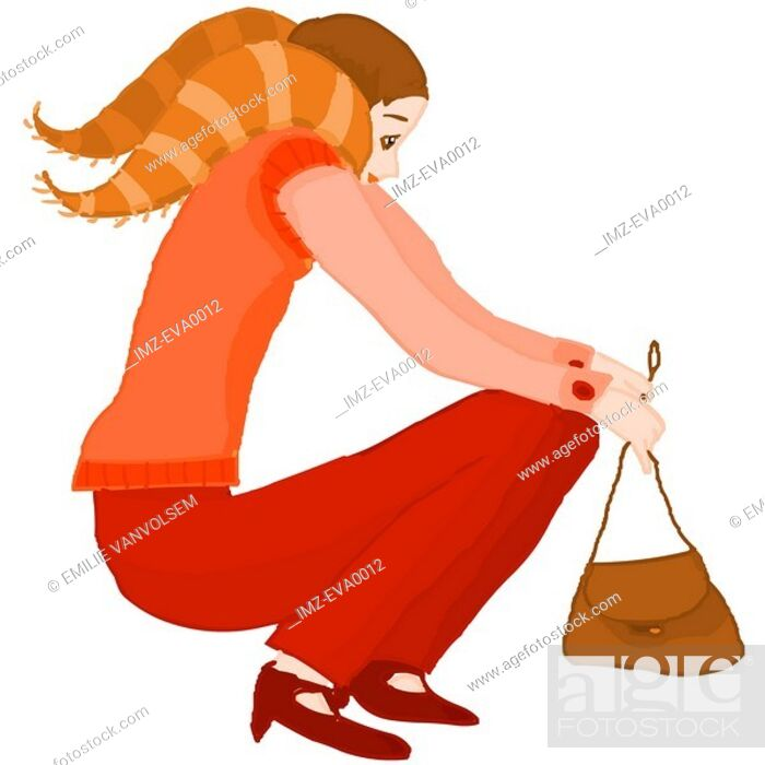 Stock Photo: A Capricorn girl squatting down with her handbag in her hands.