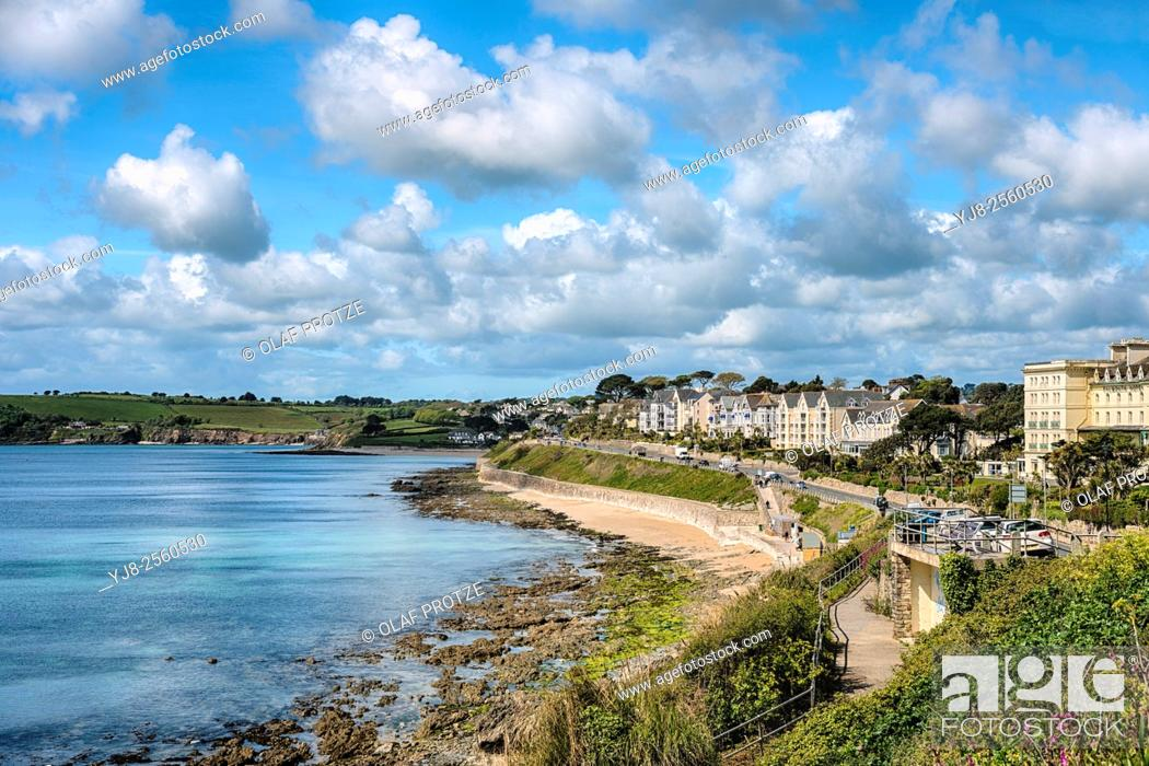 Stock Photo: View over Gyllyngvase Beach in Falmouth, Cornwall; England; United Kingdom.