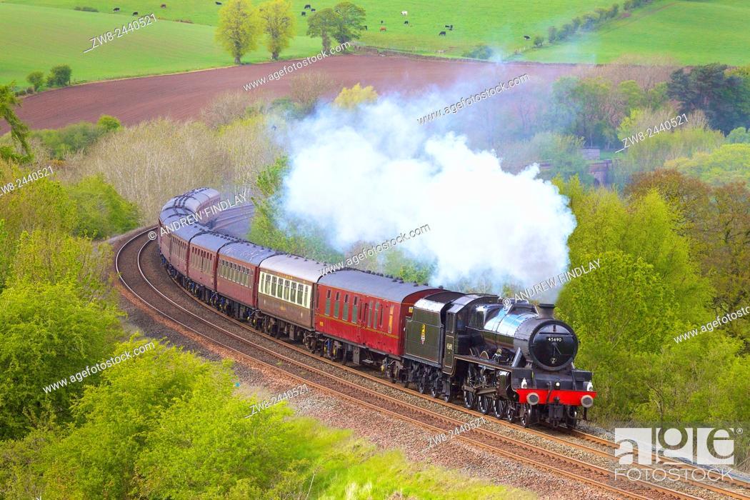 Stock Photo: Steam train. LMS Jubilee Class 'Leander'. Settle to Carlisle Railway Line, Eden Valley, Cumbria, England, UK.