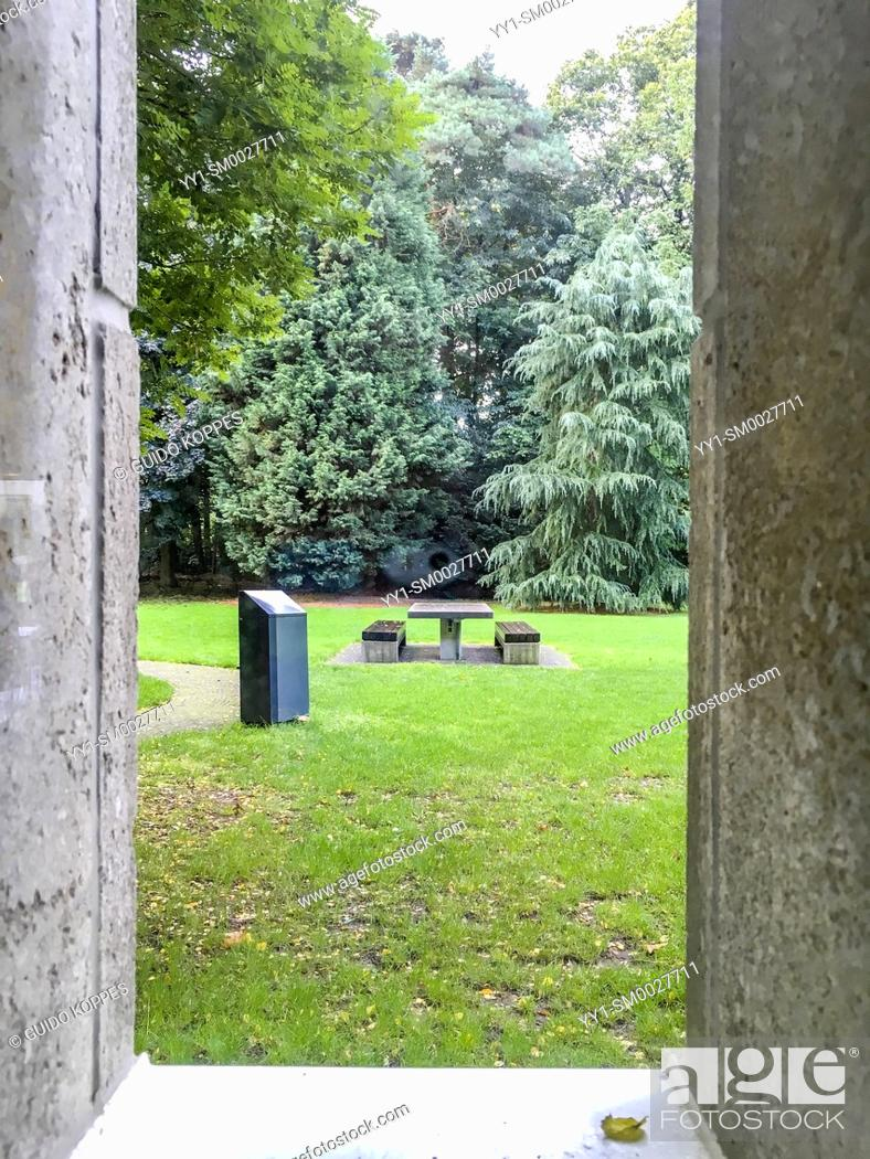 Stock Photo: Tilburg, Netherlands. View on a campus lawn from a college building window.