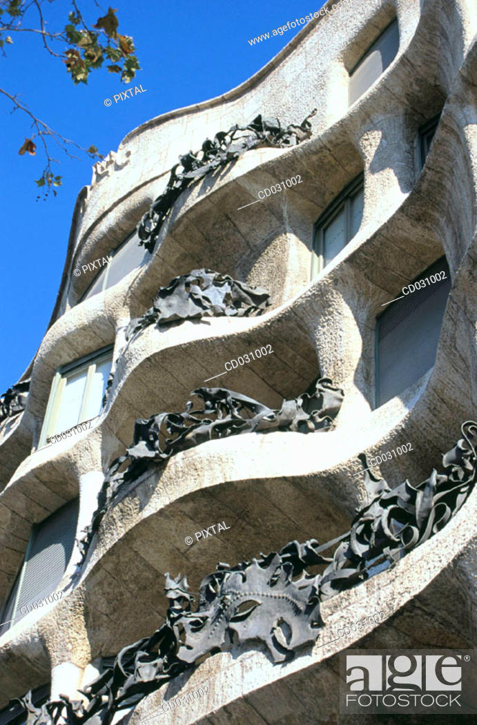 Stock Photo: Detail of the balconies of Milà House, aka 'La Pedrera' (Gaudí, 1906-1912). Barcelona. Spain.