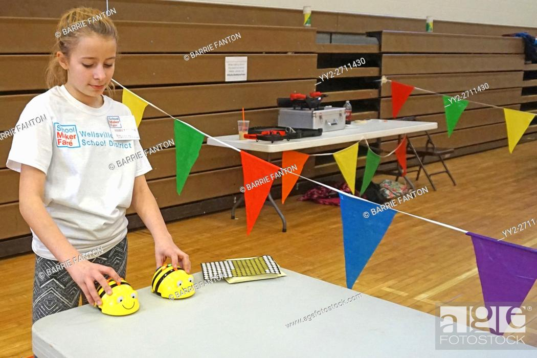 Stock Photo: Programming Robots at Maker Faire, Wellsville, New York, USA.