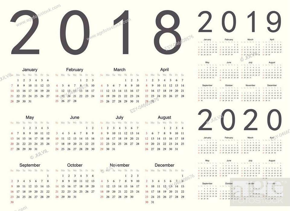 Stock Vector: Set of european 2018, 2019, 2020 year vector calendars. Week starts from Sunday.