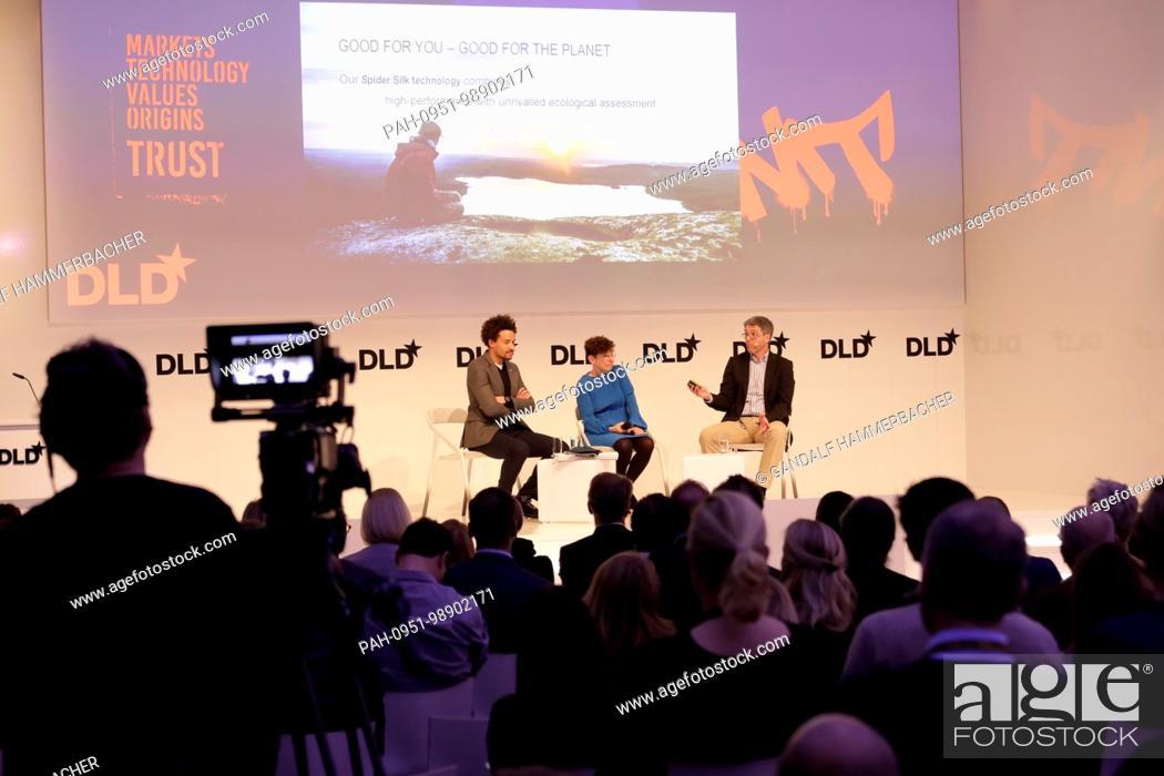 Stock Photo: MUNICH/GERMANY - JANUARY, 21: (L-R) Oliver Heilmer (MINI), Jennifer Schenker (The Innovator), Thomas Scheibel (University of Bayreuth) in conversation at a.