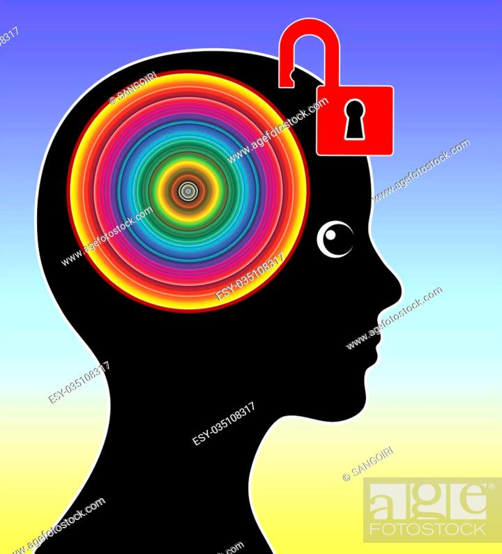 Stock Photo: Concept sign of a woman unleashing her creative mind.