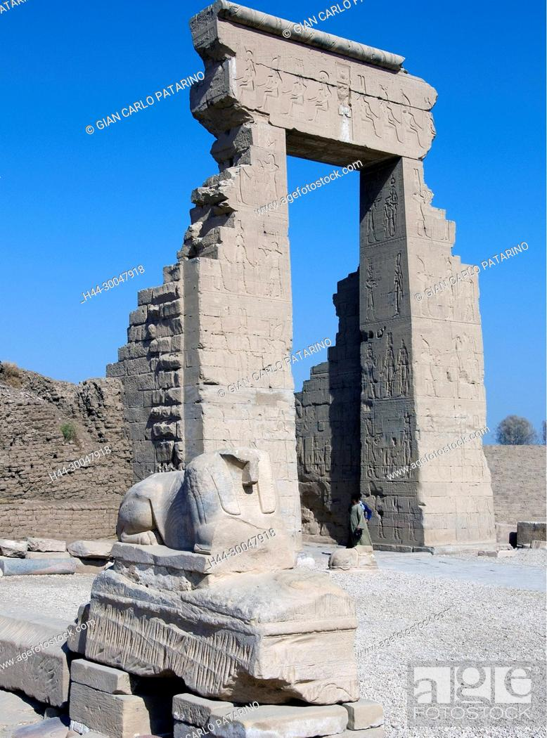 Stock Photo: Dendera Egypt, ptolemaic temple dedicated to the goddess Hathor. The entrance of the courtyard.