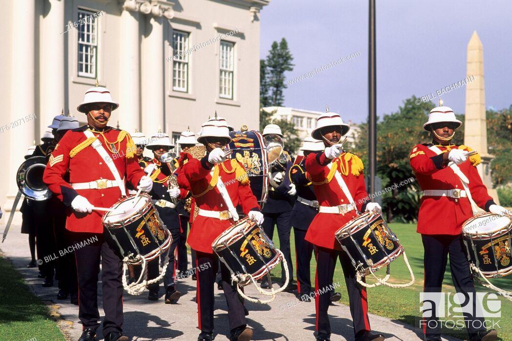 Stock Photo: Colorful Regiment Band in Bermuda.