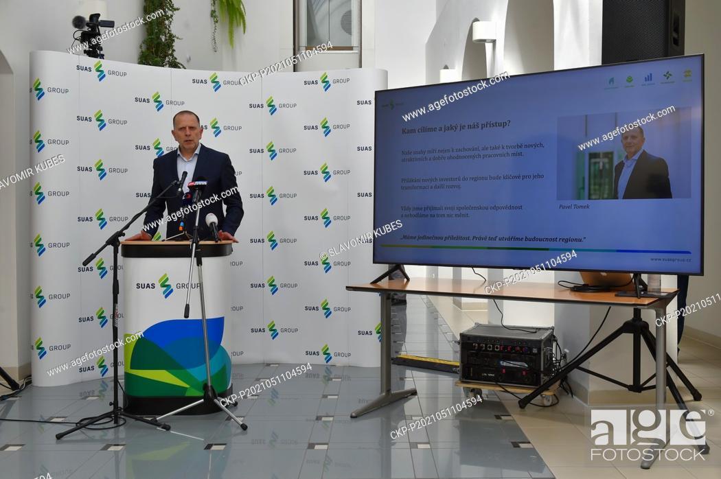 Stock Photo: Pavel Tomek speaks at a press conference, which management of miner Sokolovska uhelna (SUAS GROUP) holds on development plans, in Sokolov, Czech Republic.