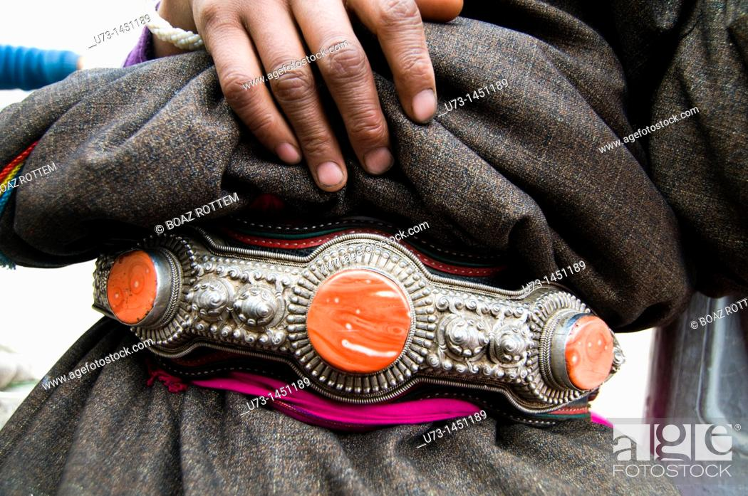 Stock Photo: A traditional Tibetan belt decorated with semi precious stones.