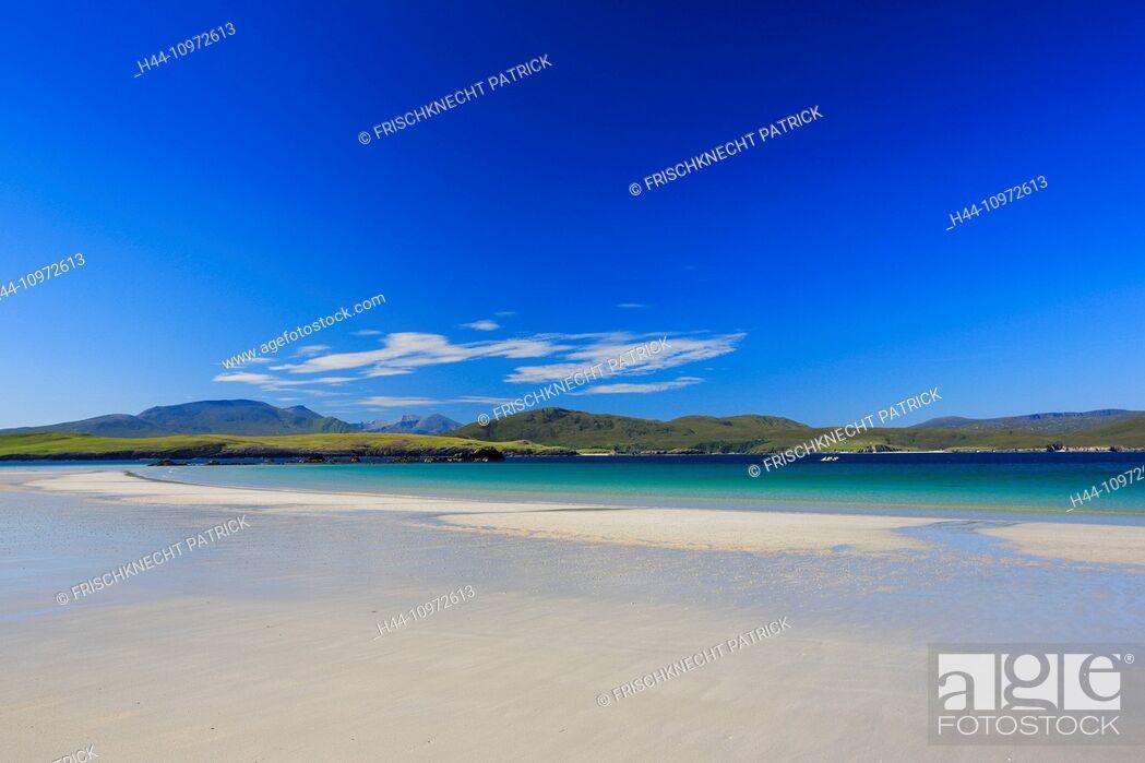 Stock Photo: Balnakeil Bay, bay, Durness, cliff, rock, water, Great Britain, Highland, highlands, sky, hill, coast, coastal scenery, scenery, landscape, sea, seashore.
