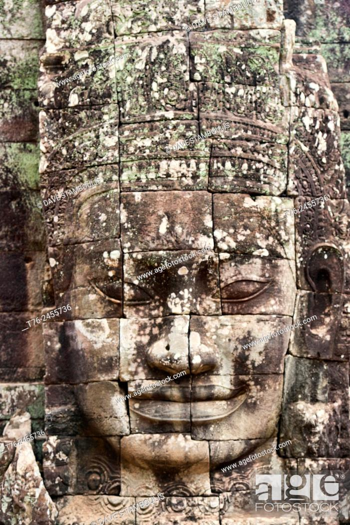 Imagen: Giant stone face at the Bayon temple at Angkor Wat in Siem Reap, Cambodia.