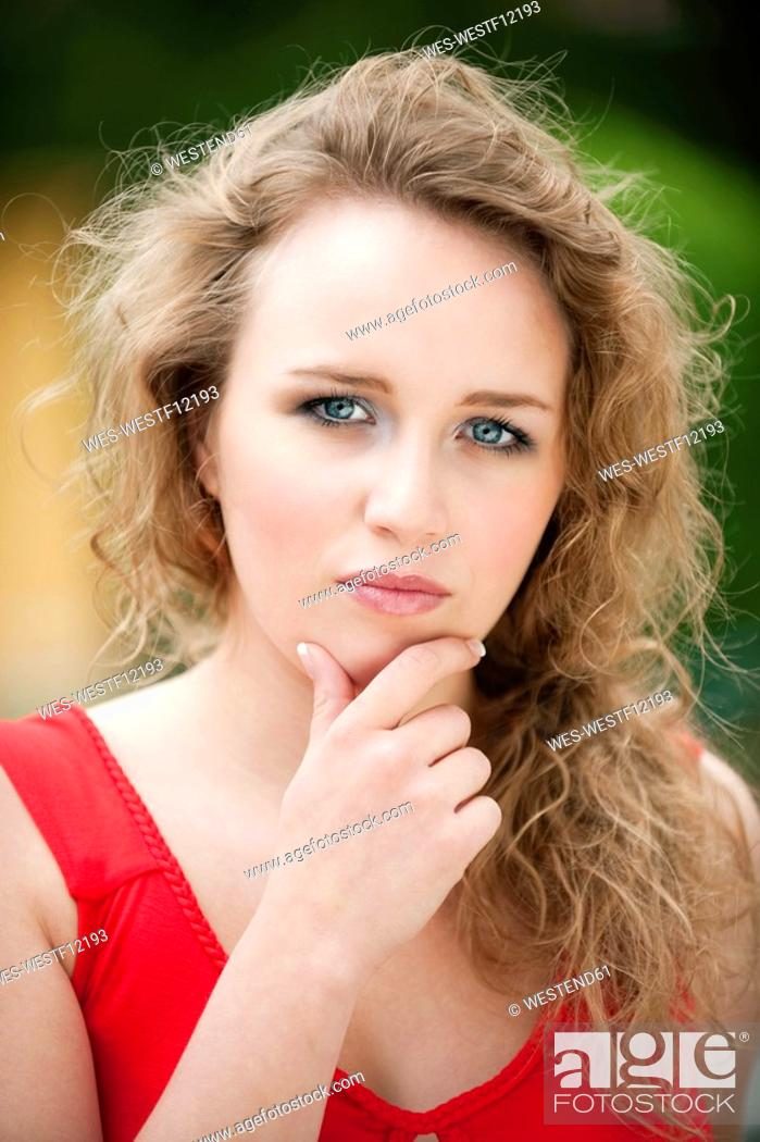 Stock Photo: Germany, Bavaria, Young woman, portrait, close-up.