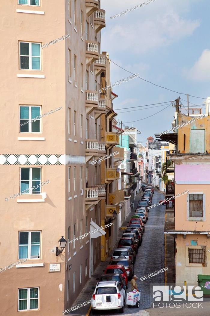 Stock Photo: Streets with spanish colonial architecture in San Juan, Puerto Rico, West Indies.