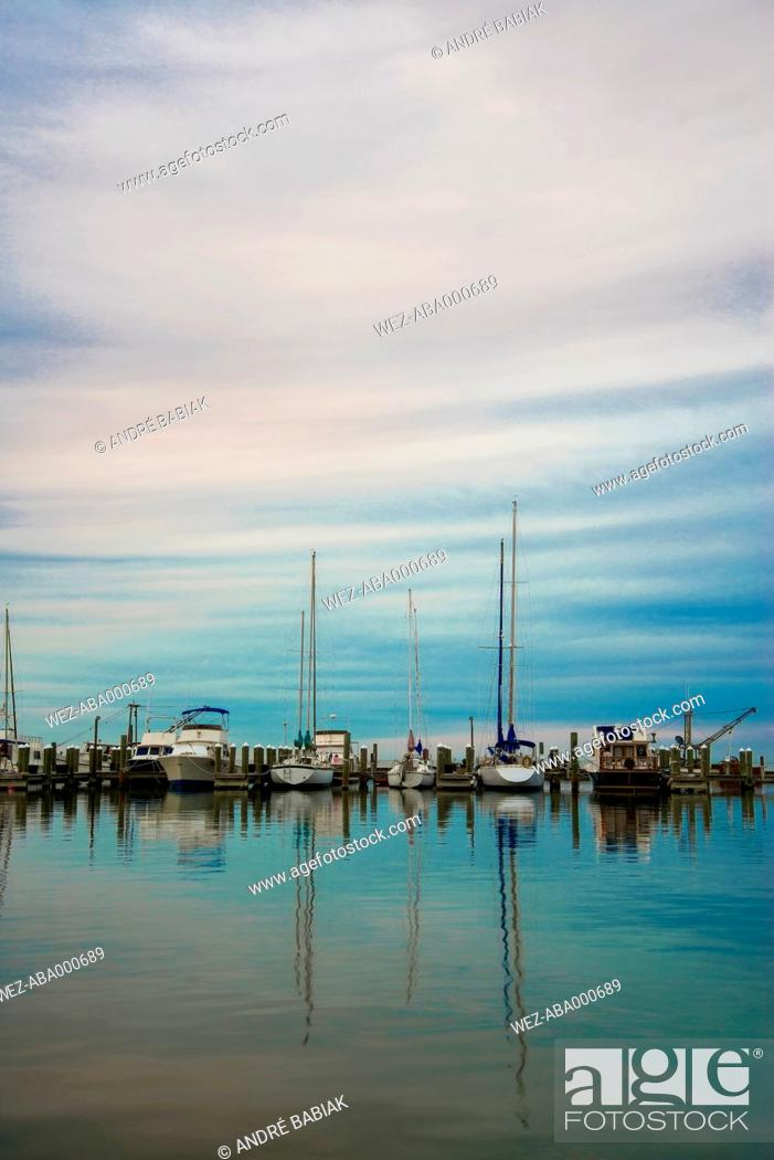 Stock Photo: USA, Texas, Rockport-Fulton, Fishing boats at Gulf of Mexico.