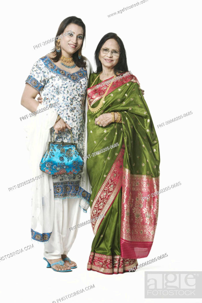 Stock Photo: Portrait of a senior woman and her daughter.