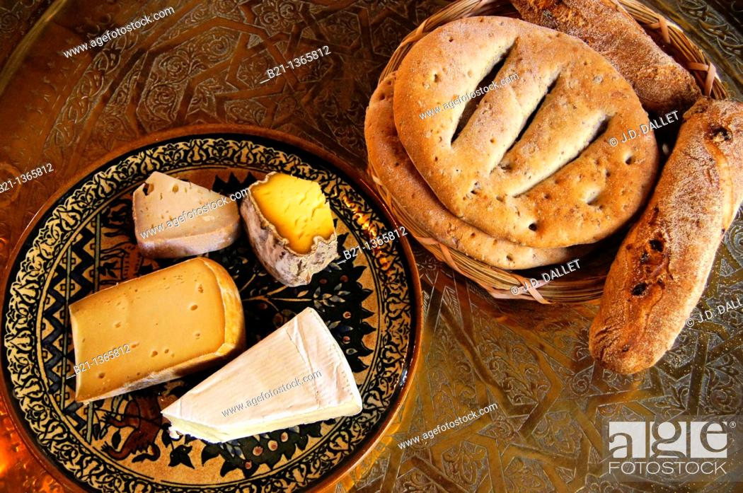 Stock Photo: Cheeses and breads, France.