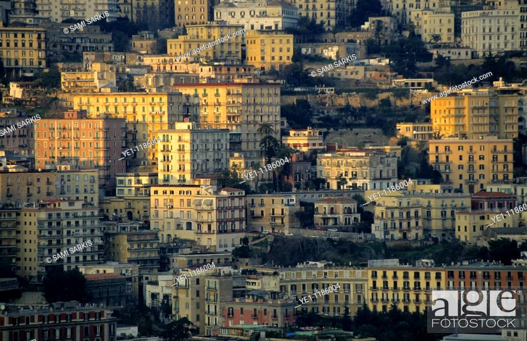 Stock Photo: High rise apartment buildings of the Posillipo District at sunset, Naples, Italy.