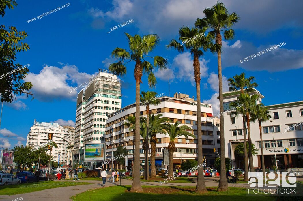 Stock Photo: Place des Nations Unies square central new town Casablanca central Morocco northern Africa.