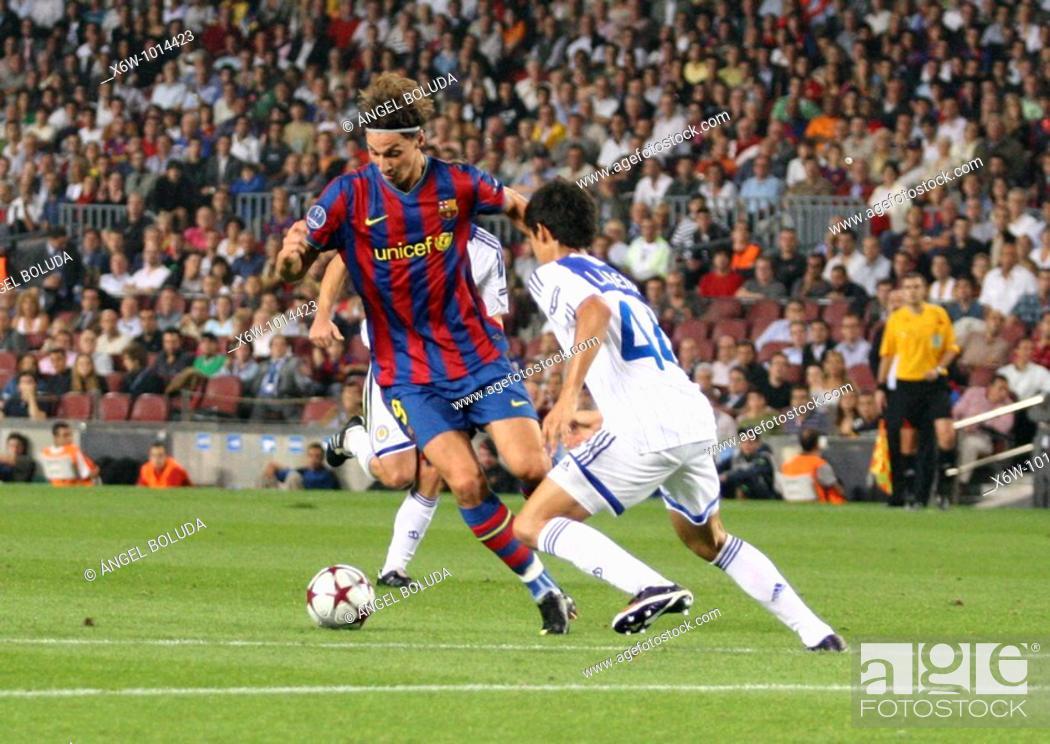 Stock Photo: Barcelona, Camp Nou Stadium, 29/09/2009, UEFA Champions League, FC Barcelona vs. FC Dynamo Kyiv, Zlatan Ibrahimovic.