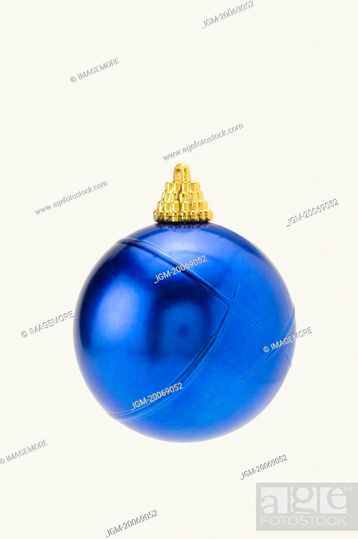 Stock Photo: A blue Christmas bauble.