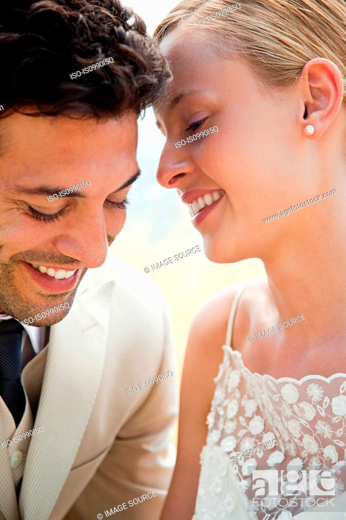 Stock Photo: Newlyweds, close up portrait.