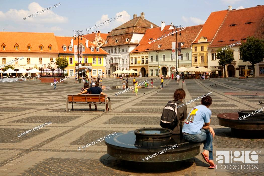 Stock Photo: Mare square  Sibiu  Transylvania  Romania.