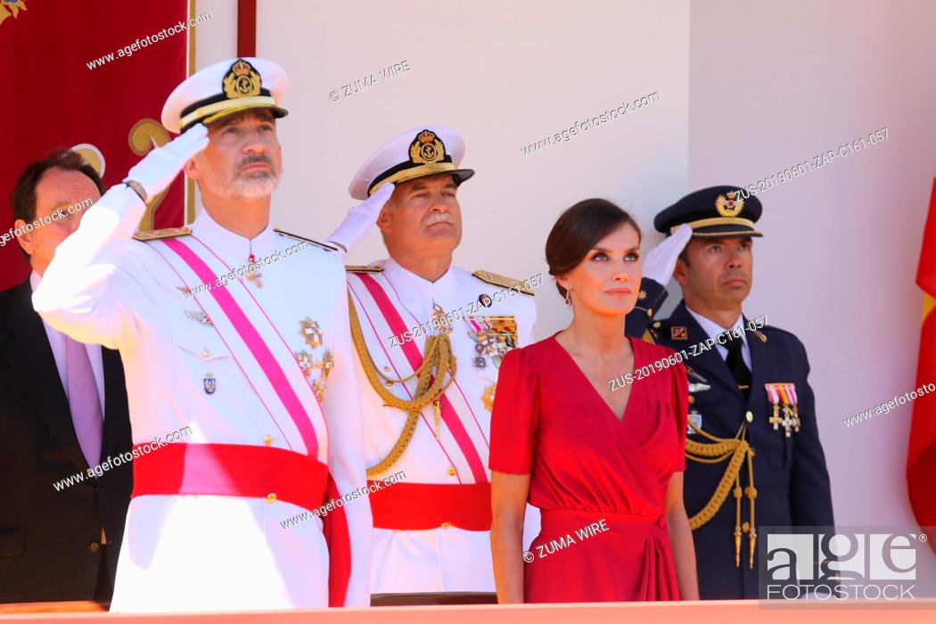 Stock Photo: June 1, 2019, Seville, Spain: The King and Queen of Spain preside in the traditional Day of the Armed Forces in Seville. King Don Felipe, in his Navy uniform.
