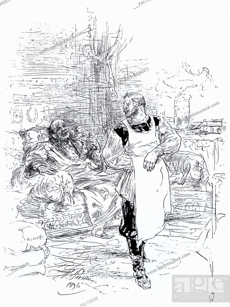 Stock Photo: Illustration for the novel The Death of Ivan Ilyich by Leo Tolstoy. Repin, Ilya Yefimovich (1844-1930). Lithograph. Book design. 1896.