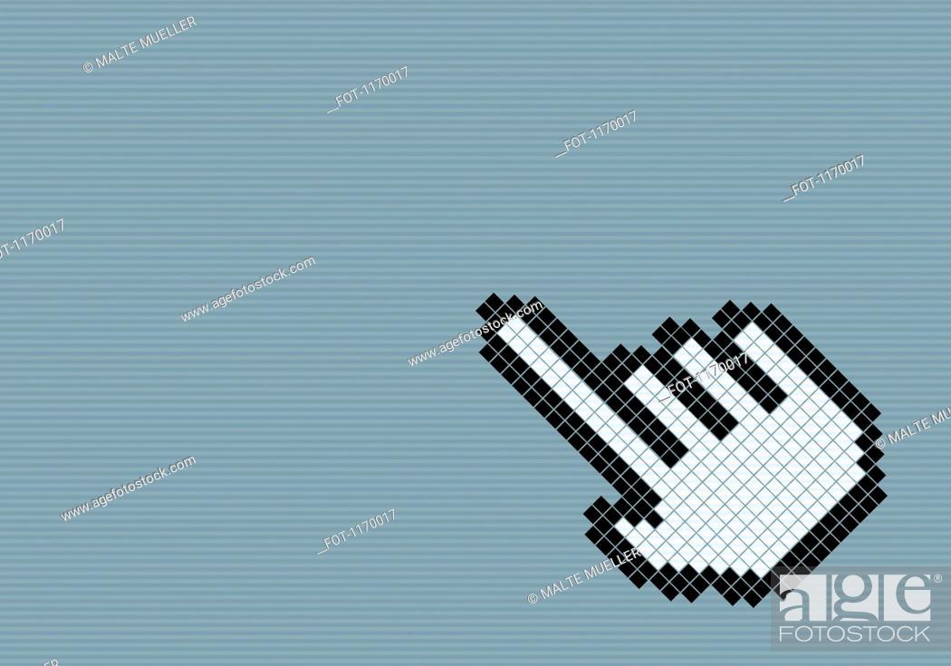 Stock Photo: 8-bit style hand cursor.